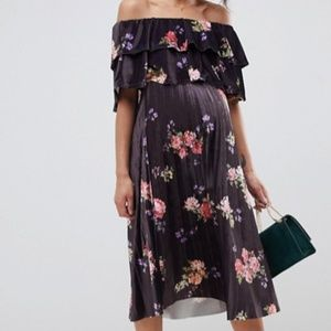 velvet, off shoulder, maternity dress